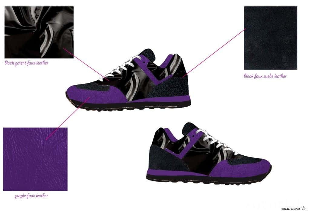 Selbstdesignte Sneakers in schwarz und lila