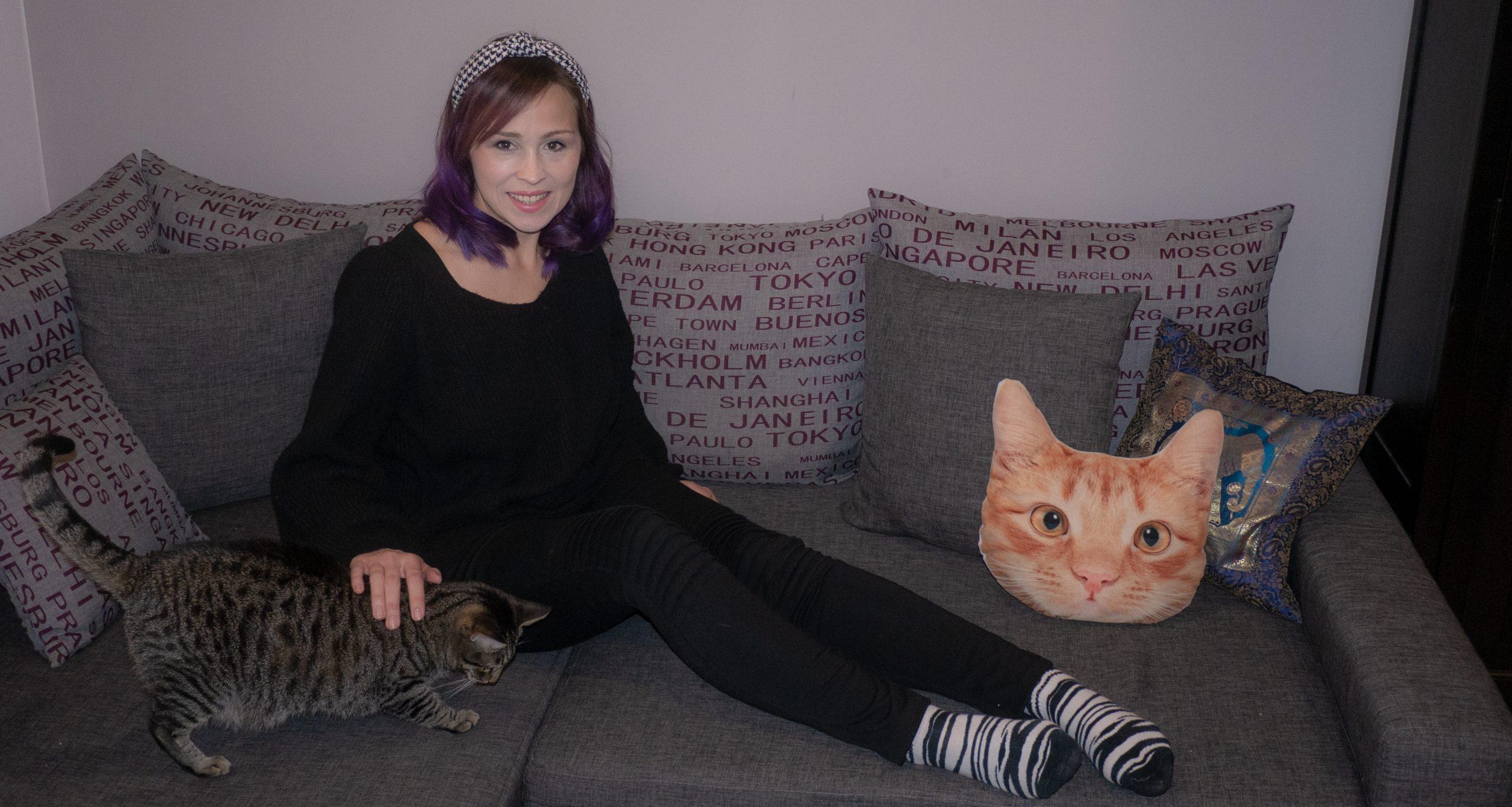 Auf der Couch mit Katzen