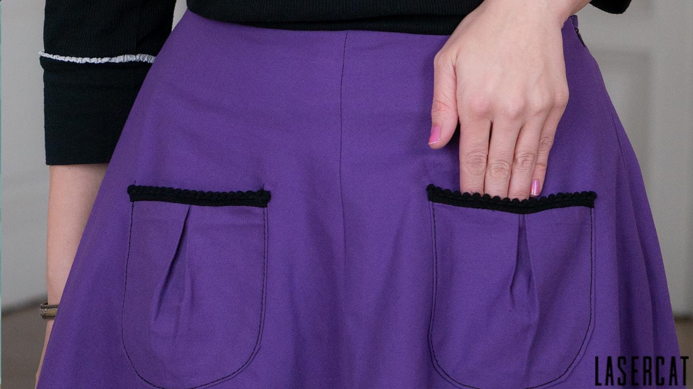 Lila Baumwollrock Taschen