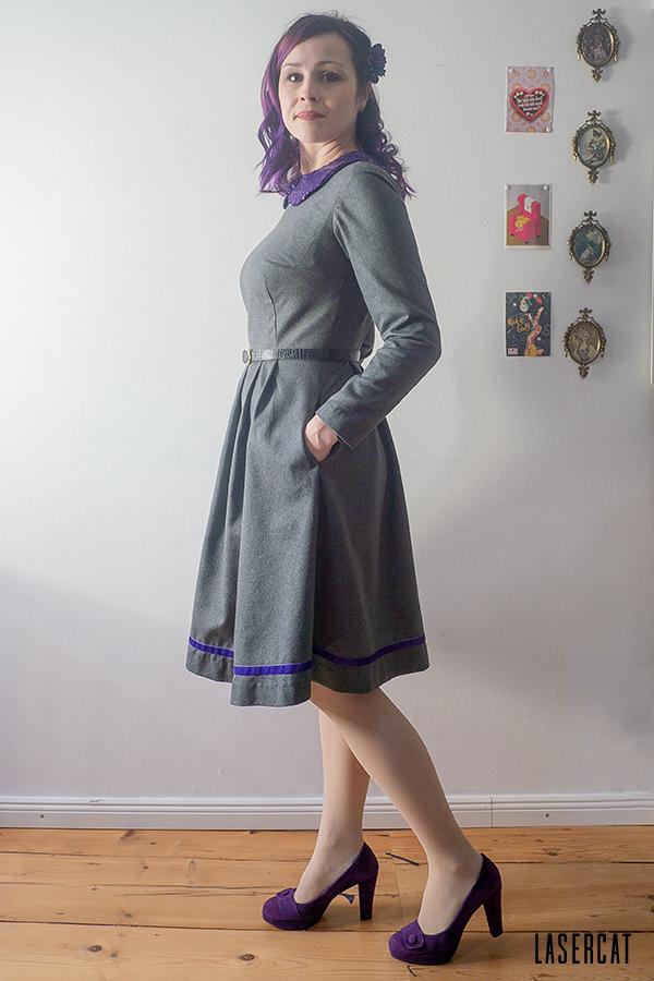 Vintagekleid aus grauem Wollstoff selber nähen