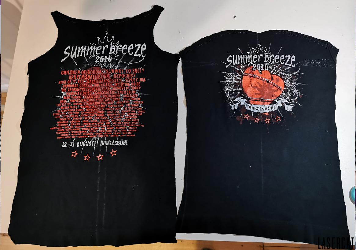 Ausgeschnittene Teile des alten T-Shirts
