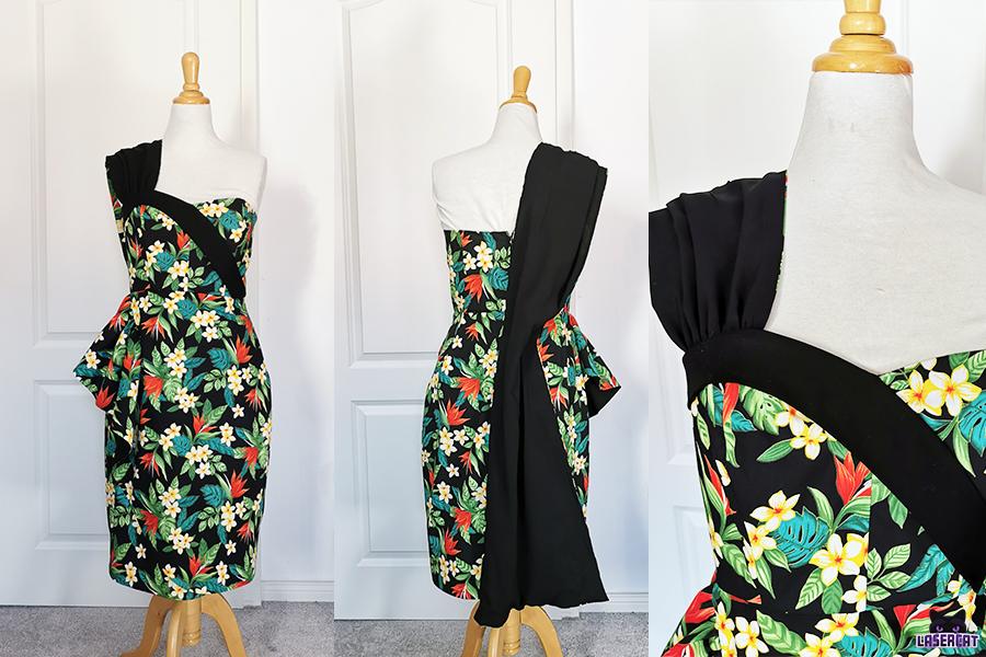Lamourdress with bodice sash and drape